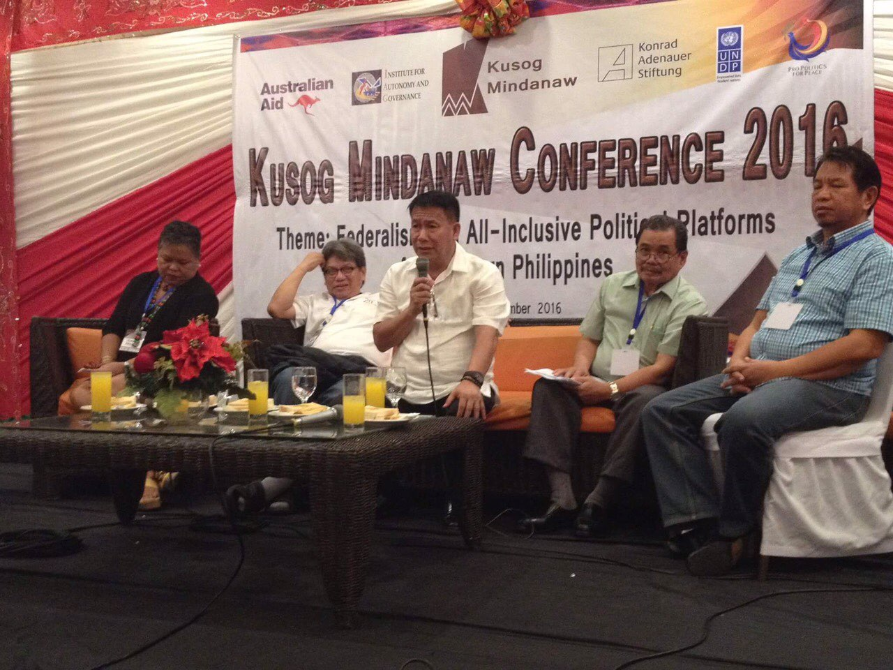 OPAPP Assistant Secretary Dickson Hermoso (center) during the culmination of the Kusog Mindanaw Conference 2016 yesterday, November 30, in Davao City.