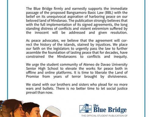 HEAR MINDANAO – STATEMENT ON THE IMMEDIATE PASSAGE OF THE ENHANCED BANGSAMORO BASIC LAW (BBL)