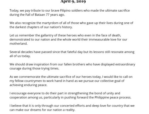 Statement of Presidential Peace Adviser Carlito G. Galvez Jr. on the occasion of  Araw ng Kagitingan (Day of Valor) April 09, 2019