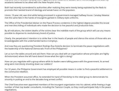 Statement of Secretary Carlito Galvez Jr. on the Brutal Murder of Two Higaunon Returnees