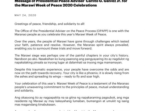 Message of the Presidential Peace Adviser Carlito  G. Galvez, Jr. for the Marawi Week of Peace 2020 Celebrations 24 May 2020