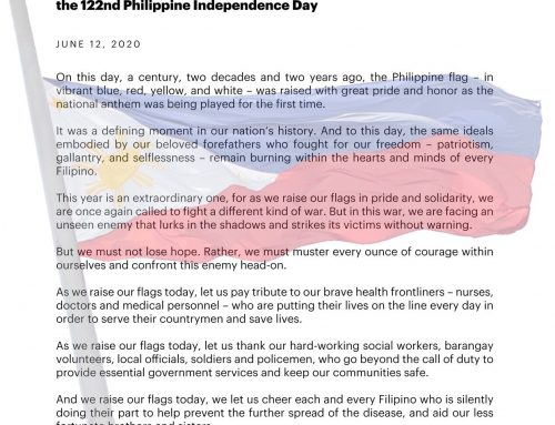 MESSAGE OF PRESIDENTIAL PEACE ADVISER CARLITO GALVEZ, JR. ON THE 122nd PHILIPPINE INDEPENDENCE DAY |12 June 2020