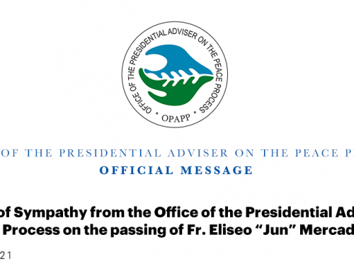 """Message of Sympathy from the Office of the Presidential Adviser on the Peace Process on the passing of Fr. Eliseo """"Jun"""" Mercado, Jr., OMI 