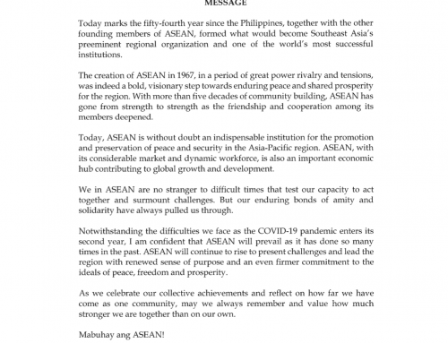 Message of H.E. President Rodrigo Roa Duterte on the occasion of the 54th Founding Anniversary of the ASEAN | 8 August 2021